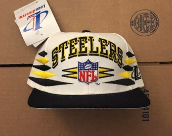 vintage deadstock pittsburgh steelers snapback hat cap 90s jersey logo athletic penguins pirates nfl ds nwt brown bell
