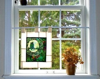 Moonlit Owl ~ Bleached Art Batik Pojagi Patchwork Window Treatment ~ boho dorm ~ bohemian cafe ~ boudoir curtain