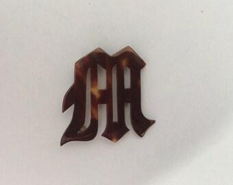 Vintage monogram M brooch