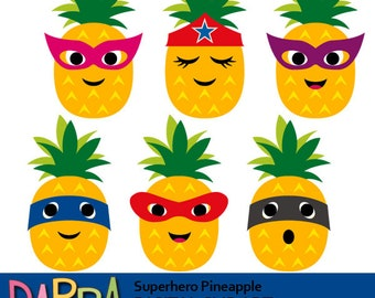 Superhero pineapple clipart, commercial use / pineapples face clip art, digital images, instant download