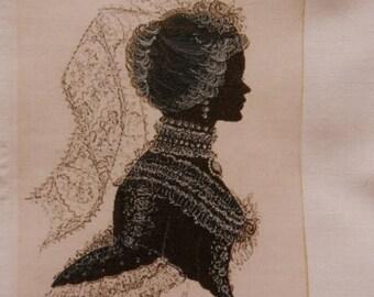 transfer 015. Lovely original transfer on cotton fabric: beautiful elegant female figure