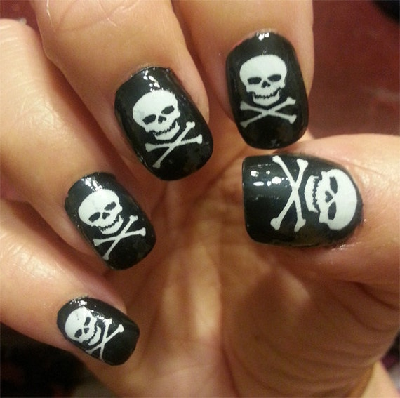 White SKULL and Crossbones Nail Art Decals (SKW) 31 Skulls and ...
