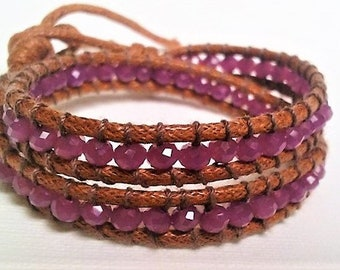 Sparkling Boho Wrap Bracelet, Purple Wrap Bracelet, Beaded Bracelet, Gift Bracelet