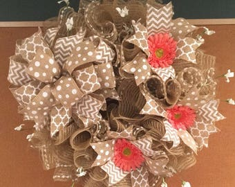 Deco mesh wreath with gerber daisies