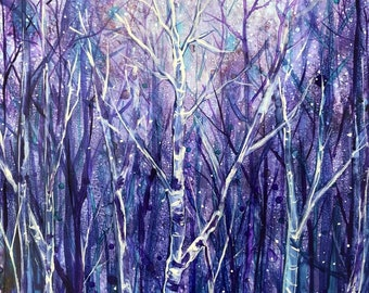 Magical Night : Fine Art Print from mixed media painting