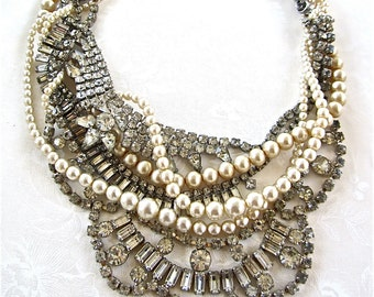 Made To Order Bridal Necklace, Rhinestone Pearl Necklace, Bridal Statement Necklace, Vintage Wedding Necklace, Rhinestone Statement Necklace