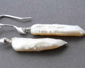Creamy White Sterling Silver Pearl Earrings, Unique, One of a Kind