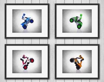 Set of 4 ATV motorcycle wall prints, boys room decor, kids room decor, boys room wall art, atv room decor, motorcycle decor, kids wall art