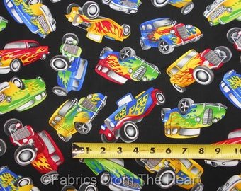 Hot Rod Cars Coupes 1930,40 Roadsters On Black BY YARDS Timeless Treasure Fabric