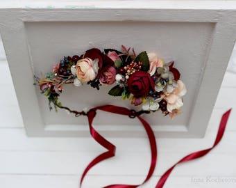 Burgundy beige flower crown Bridal hair wreath Woodland Wedding headpiece Flower girl Bridesmaid crown Maternity photo props Floral crown