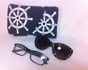 Sunglass Case, Reading Glasses Case, Soft reading glasses case, reading glasses holder, sunglasses holder, 4Eyes, Four Eyes, TT5Con-Nautical