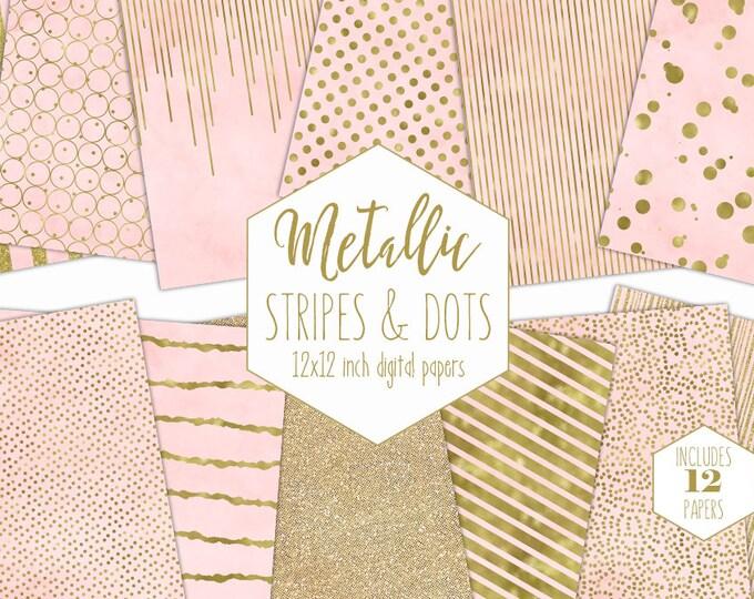BLUSH & GOLD FOIL Digital Paper Pack Pink Stripe Backgrounds Metallic Confetti Scrapbook Paper Polka Dot Wedding Patterns Party Printable