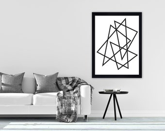Geometric print 1, Minimalist print, scandi print, mid century, hygge print, Contemporary, Modern art, Wall art, black and white print