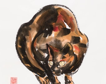 Cat Art, Tortoiseshell Cat Painting, Watercolor Cat Painting, Original Art Cat, Original Watercolor Painting, Cat Lover Gift for Cat Lover