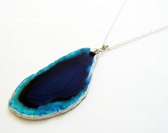 Blue Agate Slice Silver Pendant Necklace