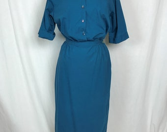 Vintage 1960s Two-Piece Day Dress Shirt Blouse Skirt Teal Blue Cotton Patite by Miss Pat Bust 41 Waist 29