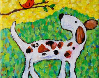 whimsical dog and bird  friends painting  CANVAS or PAPER giclee print Peggy Johnson