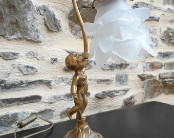 Vintage Bronze Cherub Table Lamp - Cherub Light