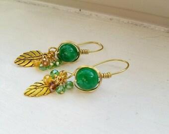 Nephrite Jade Earrings, Swarovski Crystal Earrings, Handmade Wire Earrings, Wire Wrapped Jewelry, Green Earrings Dangle, Hypoallergenic
