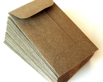 25 Mini Natural Kraft Envelopes (Brown Bag) with Open End . 2.25 x 3.75