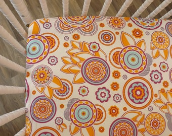 Crib Sheet- Baby Sheet- READY TO SHIP--Funky Floral Crib Sheet- Fitted Crib Sheet- Girl Crib Sheet