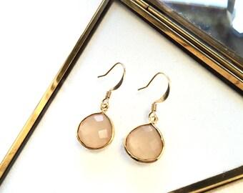 Pink Quartz Drop Earrings - Gold Filled Pink Set Gemstone Earrings - Boho Earrings - Bohemian Jewelry