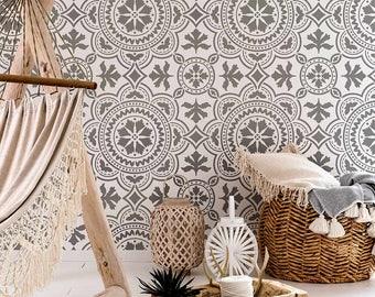 Tangier Tile Stencil   Cement Tile Stencils   DIY Floor Tiles   Reusable  Stencils For Home