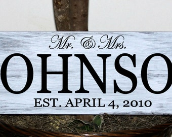 Primitive - Custom Mr. and Mrs. family name sign with established date