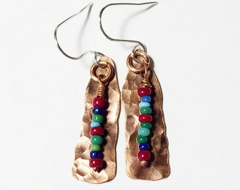Hammered Copper Dangle Earrings - Free Domestic Shipping