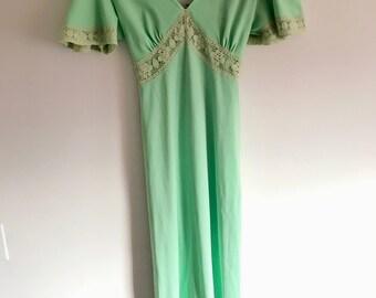 Vintage 70s Dress with Lace Trim