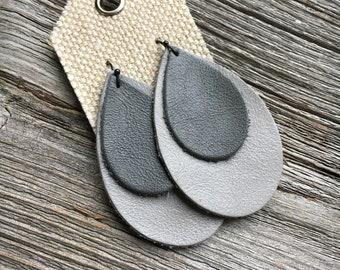 Double Leather Teardrop Earrings in Slate and Gray, Bohemian Leather Earrings