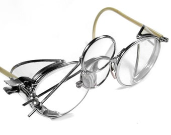 Steampunk Goggles AMERICAN OPTICAL Antique Steam Punk Goggles Aviator CLEAR Side Shields 2 Loupes Rare Unique Pair Near Mint - by edmdesigns