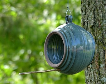 Bird feeder – Pottery ball shaped bird feeder, Hanging bird feeder, Garden decoration, Ceramic, Stoneware, Handmade, Wheel thrown