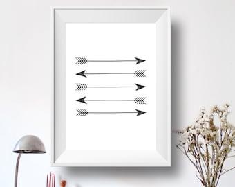 Printable Art Home Decor Arrow Print, Wall Print, Black and White, Arrow Silhouette, Wall Prints, Download, Printable, Tribal Arrow Art