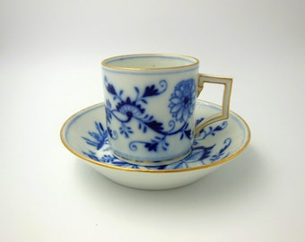 A Meissen mocha demitasse cup and saucer