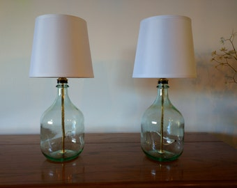 Table lamp, bedside lamps, small table lamps,bottle lamp, glass table lamp,set of 2 table lamps,bedroom lamp,modern decor, glass bottle lamp