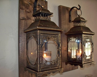 Set of 2 lantern pair wall decor, bronze wall sconces, housewarming gift, bathroom decor, wrought iron hook, rustic wood boards