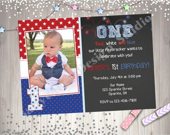4th of july birthday invitation invite july 4th birthday invitation red white blue boy 1st birthday photo picture chalkboard