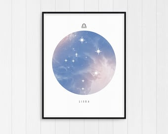 Libra Print, Libra Zodiac, Libra Art, Zodiac Art Print, Libra Constellation, Horoscope Decor, Download, Libra Zodiac Poster, Astrology