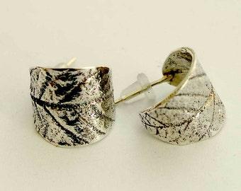 Leaf stud earrings, botanical earrings, sterling silver earrings, leaf post earrings, leaf studs, nature earrings, simple - Songbird E2129