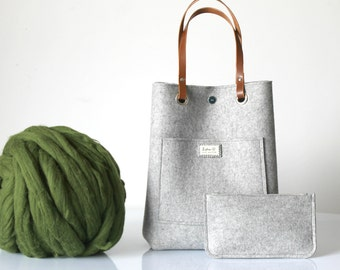 100% Design Wool Felt Tote with purse, Wool felt tote bag Casual tote, Leather handles tote, Gift For Her, Christmas Gift For Her