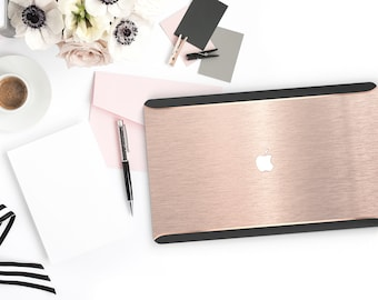 Macbook Pro 13 Case Macbook Air Case Laptop Case Macbook Case . Brushed Nude . Rose Gold Chrome . Black Velvet Edge  Platinum Edition