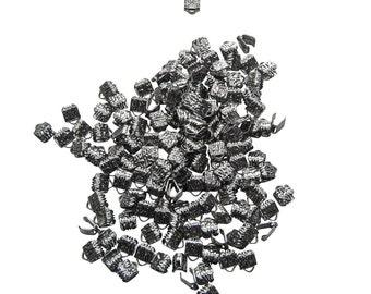 500 pieces  6mm (1/4 inch) Gunmetal Ribbon Clamp End Crimps - Artisan Series