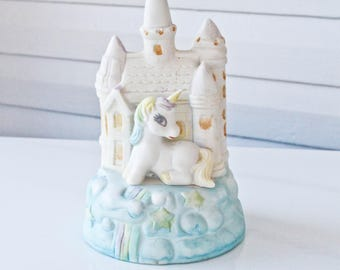 Vintage Pastel Unicorn with Magical Castle Sitting on Clouds-Artmark- Music Box Spinning Figurine