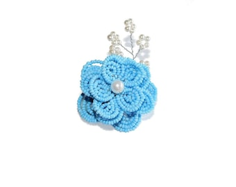1pc Beaded Flower Hair Clip on French Barrette. Blue White Hair Clip with Pearl Spray. Hair Accessory for Girl Teen. French Beaded Flower