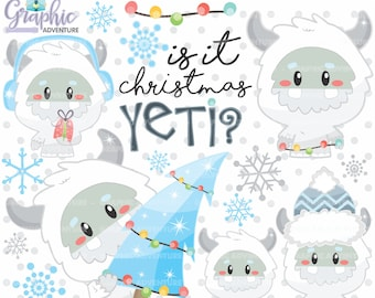 Yeti Clipart, Yeti Winter Clip Art, Christmas Clip Art,  Monster Clipart, Clip Art, Abominable Snowman, Clip Art for Scrapbooking