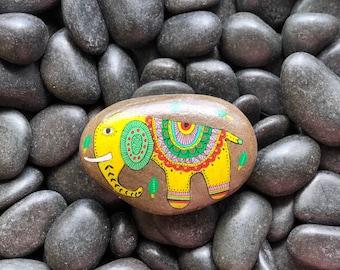 Yellow Elephant Hanpainted Rock