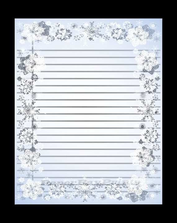 printable lined paper with snowflake border christmas border