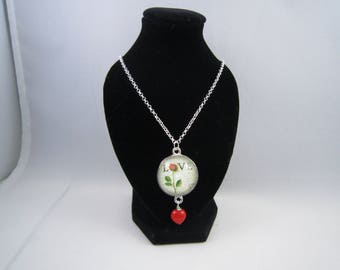 Love Stamp Glass Pendant Necklace