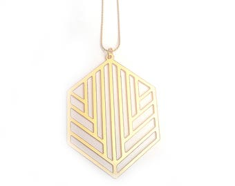 Gold Necklace, Geometric Necklace, Gold Statement Necklace, Gold Pendant Necklace, Long Pendant Necklace, Long Gold Necklace, Hexagon